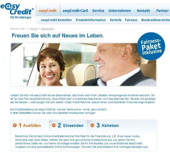 EasyCredit Kredit Screenhot Webseite